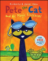 Mrs. Demchak reading Pete the Cat and His Magic Sunglasses