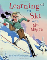 Mrs. Donahue reading Learning to Ski with Mr. Magee