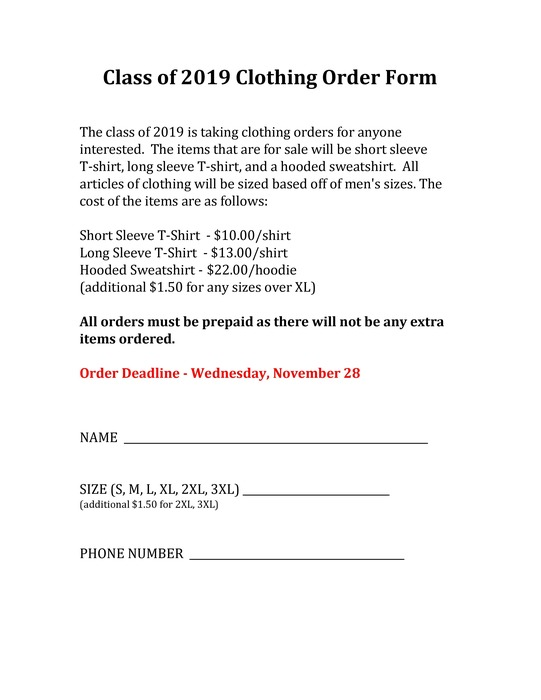 Class of 2018 Order Form