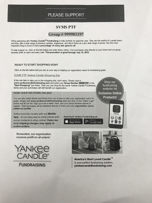 PTF is having a Yankee Candle fundraiser! Packets are going home next week!